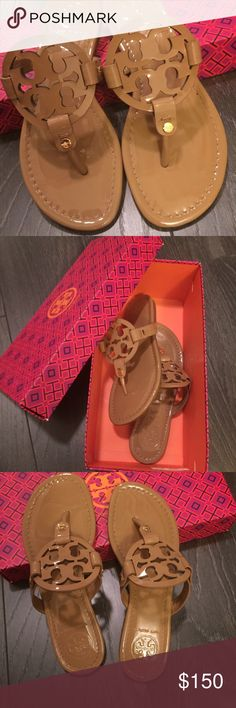 Tory Burch Miller Sandals in Patent Nude New, comes with box but not the correct box. Size 5.5. Patent nude color. Tory Burch Shoes Sandals