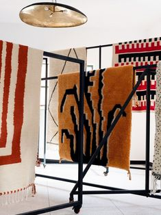 Textiles on display at the Beni Rugs design studio in Marrakech.