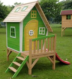Whacky Tower Wooden Playhouse  Styling a funky green colour scheme and outstanding build quality, the Whacky Tower Wooden Playhouse offers a fun salute to the traditional tree house. Complete with a solid balcony, ladder and slide, this Whacky Tower is a great outlet for their colourful imaginations.