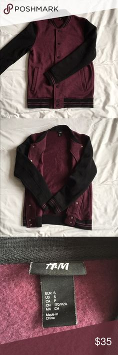 Maroon Varsity Jacket Maroon / Burgundy Varsity Jacket with fleece like inside. Never worn. It says S, but it's more of a M.  H&M Jackets & Coats