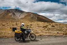 motorcycle rider on the road, Molesworth Station