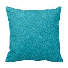 Blue-green floral design pillows