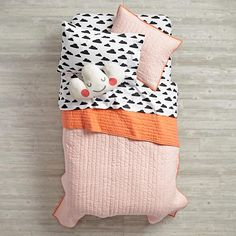 With a Chance of Sheet Set  | The Land of Nod We don't have to do the pink coverlet...just looking at the sheets here