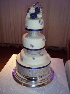 Cadbury purple diamonte wedding cake