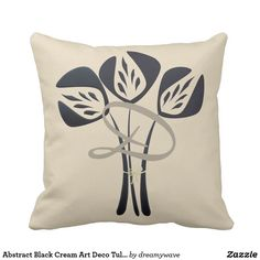 Abstract Black Cream Art Deco Tulip Pillow