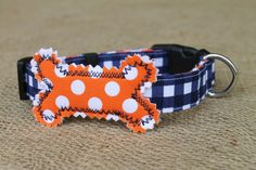 Auburn Dog Collar  War Eagle Navy Gingham with by kellimontgomery, $13.50