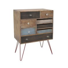 Mixing up patterns and materials these days is where it's at, design-wise. Try it out with this versatile cabinet that successfully blends metal and wood together.