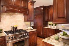 Dark Cabinets with mid/light counter & back splash
