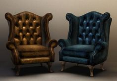 Chesterfield queen Anne wingback