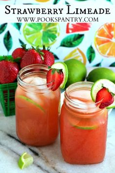 4 ingredient strawberry limeade is a quick and delicious summertime drink. Kid-friendly and perfect for a crowd, this recipe serves 6 and is easily doubled. Strawberry Simple Syrup, Strawberry Limeade, Strawberry Desserts, Vegan Desserts, Citrus Recipes, Easy Drink Recipes, Summer Recipes, Punch Recipes, Delicious Recipes