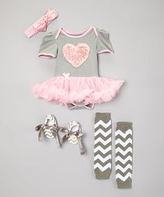 Look at this Gray & Pink Heart Skirted Bodysuit Set - Infant on #zulily today!