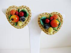 Darling vintage West German Heart Shaped Basket of Fruit Salad Clip Earrings. #vintage #earrings #accessories #fashion