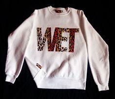 WET Sweatshirt - White - Cheetah Fabric. $40.00, via Etsy.