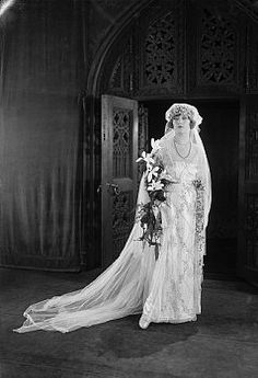 Film Star Brides | An Elegant Obsession. Marion Davies in a replica of Princess Mary's wedding gown, ca. 1922