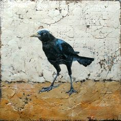 Original Crow Painting Bird Art Acrylic Painting by dianamulder,