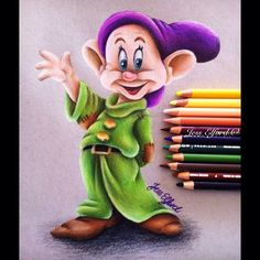 Drawing of Disney's Dopey by Jess Elford. Drawn with prismacolor pencils on tan paper.