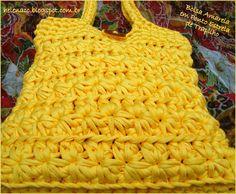 EU TAMBÉM CROCHETO...: Bolsa Amarela de Trapilho em Ponto Estrela