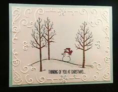 STAMPS: White Christmas. PAPER: Soft Sky, Whisper White. INK: Soft Sky, Memento Black, Cherry Cobbler. OTHER: Cherry Cobbler Blendabilities, Flesh Tones Blendabilities. Big Shot, Filigree Frame EF, Sponge, Dazzling Diamonds, Two-Way Glue pen.