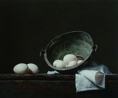 Roman Reisinger, Still life with white eggs and oxidized kettle
