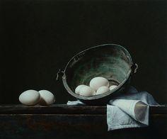 "Roman Reisinger: ""Still life with white eggs and oxidized kettle"""