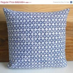 SALE Navy small scale geometric ikat decorative by pillowflightpdx, $27.20