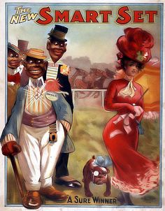 Racist Cartoon  You are viewing a picture of a Racist Cartoon created in 1906, which portrays a stereotypical view of Blacks at that time. The image was created by the US Lithograph Company. It portrays three African American men checking out a beautiful white woman. The black men are portrayed lusting after a white woman, which as a typical stereotype of the day.