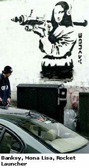Mona Lisa with Grenade Launcher, Banksy Graffiti Art, Street Art. Banksy Graffiti, Street Art Banksy, Graffiti Artwork, Bansky, Banksy Paintings, Stencil Art, Stencils, Art For Art Sake, Street Artists