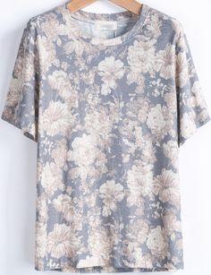 Blue Short Sleeve Rose Print Loose T-Shirt - Sheinside.com