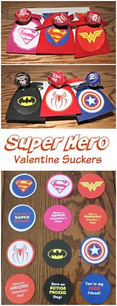 Instructions and free printables for making super hero Valentine's suckers. These are perfect for Valentine's Day or birthday party favors. Includes your favorite super heroes for boys and girls. Cool Birthday Cards, Dad Birthday Card, Birthday Gifts For Kids, Birthday Crafts, Birthday Ideas, Birthday Wishes, Valentines For Boys, Valentines Day Party, Valentine Day Cards