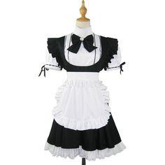 Maid Cosplay Costume ❤ liked on Polyvore featuring costumes, maid costume, white halloween costumes, white costume, cosplay halloween costumes and chambermaid costume