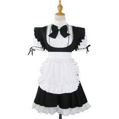 Maid Cosplay Costume ❤ liked on Polyvore featuring costumes, white halloween costumes, cosplay costumes, maid costume, maid cosplay costume and role play costumes