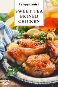 This crisp, golden-brown Brined Chicken is tender, juicy and full of flavor. The simple sweet tea chicken brine works well for roasting, grilling or smoking either a whole chicken or individual chicken pieces. You can enjoy this easy dinner recipe all year long! Chicken Brine, Smoked Chicken, Tandoori Chicken, Stuffed Whole Chicken, Sweet Tea, Quick Curry Recipe, Quick Peach Cobbler, Quick Beef Stew, Rosemary Tea