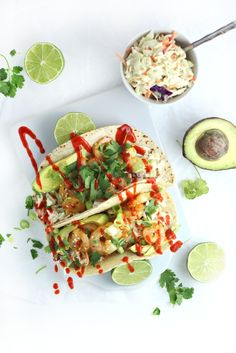 shrimp tacos with sesame citrus slaw and sriracha