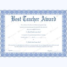Simple teacher of the year certificate award awardforteacher certificate of best teacher award yadclub Gallery