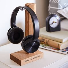 Personalised Solid Oak Headphone Stand by MijMoj Design, the perfect gift for Explore more unique gifts in our curated marketplace. Headphone Storage, Gift For Music Lover, Anniversary Gifts For Him, Cute Rings, Gifts For Teens, Memorable Gifts, How To Better Yourself, Grey Leather, Solid Oak