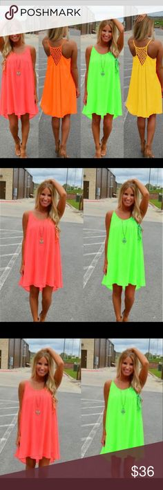 ☀️Sun Dress ☀️ Sexy Women's Summer Casual Sleeveless Evening Party Beach Dress Short Mini Dress Material:Chiffon Unique fluorescent bright design Soft hand feel, comfortable to wear Occasion: Summer/Beach/Casual/Streetwear/Cocktail Size info: S: Bust  37.8 inch; Total Length: 32.68 inch M: Bust 39.37 inch; Total Length: 33.07 inch L: Bust 40.94 inch; Total Length: 33.07 inch XL:Bust 42.52 inch; Total Length: 33.46 inch XXL:Bust 44.09 inch; Total Length: 33.46 inch XXXL:Bust 45.67 inch; Total…