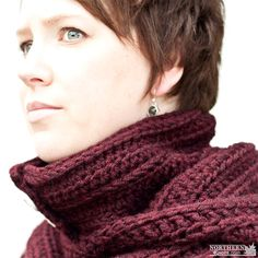 Crochet Pattern - North Winds Hooded Cowl (scarf) by Northern Knots Crochet cowl pattern - crochet scarf pattern - hooded cowl - snood crochet pattern - hooded scarf pattern - button cowl - button up cowl - over sized cowl - winter crochet - chunky crochet scarf - easy crochet patter Northern Knots - Northern_Knots - NorthernKnotsCanada - NorthernKnots