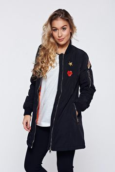 Black embroidered casual jacket zipper details pockets, women`s jacket, zipper details pockets, zipper fastening, inside lining, slicker fabric, logo printed, nonelastic fabric, soft fabric