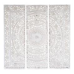 Trittico bianco in legno 150 x 150 cm | Maisons du Monde