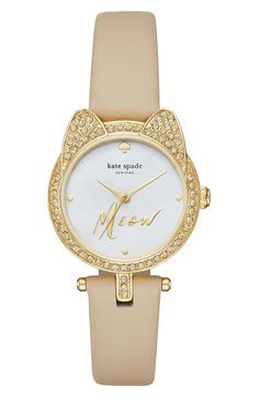 Right about meow is a good a time as any to add this Kate Spade watch to the collection. Glittering cat ears and a chic monochrome palette strike her signature balance in this comfortably small watch. (=)