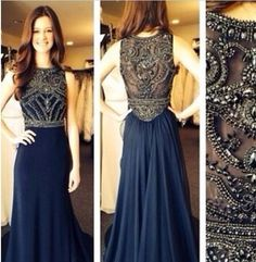 Sexy Jewel See Through Beaded Prom Dresses A Line Floor Length Evening Dress  #Sexybridal #ALine #Formal