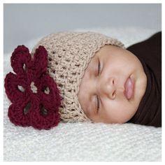 Melondipity Girls Burgundy Flower Tan Organic Beanie Baby Hat - Super Soft Light Brown Crochet Infant Knit Cap with Red Petals