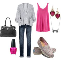 Casual and cute for Valentines day =)  (@marindak polyvore.com)