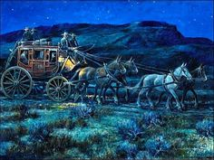 Stagecoach Night Scene by Nick Eggenhofer.