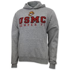 c24f9bf165a2 Slip on some USMC gear with this USMC Champion Semper Fi Fleece pullover  hoodie! No
