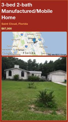 3-bed 2-bath Manufactured/Mobile Home in Saint Cloud, Florida ►$87,000 #PropertyForSale #RealEstate #Florida http://florida-magic.com/properties/19485-manufactured-mobile-home-for-sale-in-saint-cloud-florida-with-3-bedroom-2-bathroom