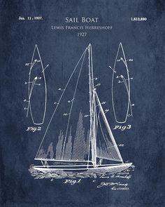 1920s Sail Boat Patent Art Print Poster By Sara Harris