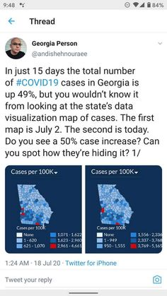 In just 15 days the total number of #COVID19 cases in Georgia is up 49%, but you wouldn't know it from looking at the state's data visualization map of cases. The first map is July 2. The second is today. Do you see a 50% case increase? Can you spot how they're hiding it?  ~ @andishehnouraee