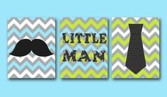 "Little man Baby Boy Nursery art print Childrens Wall Art Baby Room Decor Kids Print set of 3 8"" x 10"" Little man blue green by artbynataera"