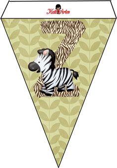 Alfabeto completo dentro de banderines con el tema de la jungla = selva .                                                               ...